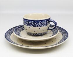 Tasse mit Untertasse kleiner Essteller Blau Punkt Rose